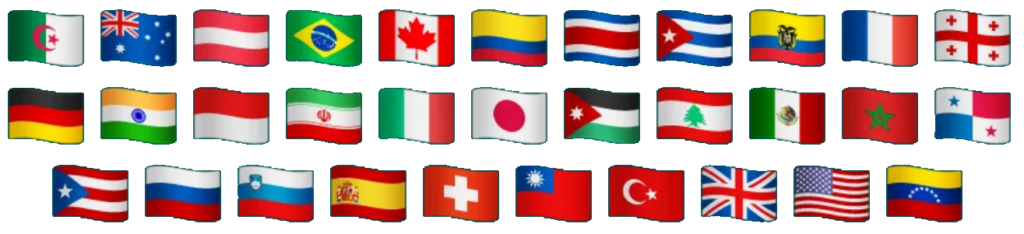 Algeria, Australia, Austria, Brazil, Canada, Colombia, Costa Rica, Cuba, France, Germany, India, Indonesia, Iran, Italy, Japan, Jordan, Lebanon, Mexico, Panama, Slovenia, Spain, Taiwan, Turkey, United Kingdom, United States of America, Venezuela